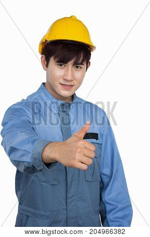 Portrait of young construction worker wearing yellow helmet  in a Uniform mechanic isolated over white background