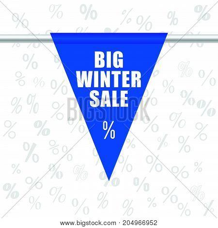 Big Winter Sale Icon In Blue Illustration