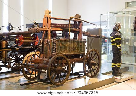 VIENNA, AUSTRIA - 24 AUGUST 2017:The technical museum in Vienna exhibits the production of energy industry machinery.