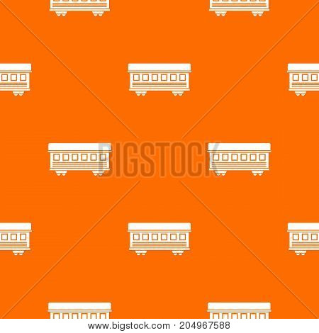 Passenger train car pattern repeat seamless in orange color for any design. Vector geometric illustration