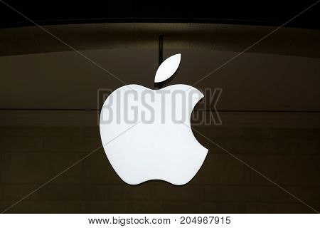 NEW YORK USA - AUGUST 26 2017: Detail from Apple shop in New York USA. Apple is American multinational corporation founded at 1976 at Cupertino California.
