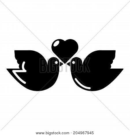 Wedding doves heart icon . Simple illustration of wedding doves heart vector icon for web design isolated on white background