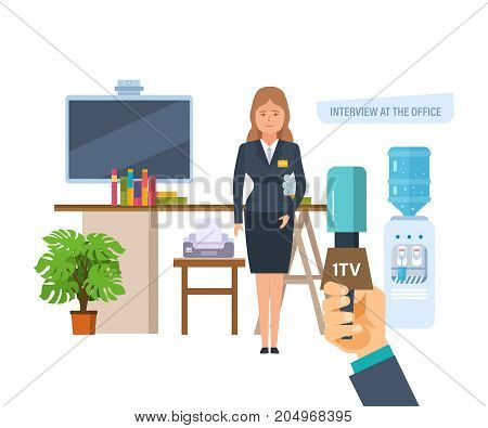 Press conference. Reporters journalists take interview an employee of company, near her workplace. Communications and live dialogue, interviews. Interview at office. Vector illustration isolated.