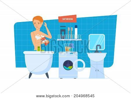 Modern interior of the bathroom, with household appliances, furniture, household items, room architecture. Beautiful sexy girl accept bathroom using hygienic means. Vector illustration isolated.