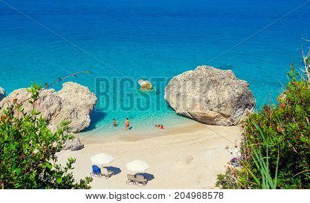 Kavalikefta Beach, Lefkada Island, Greece. Beautiful turquoise water of Kavalikefta Beach on the island of Lefkada in Greece