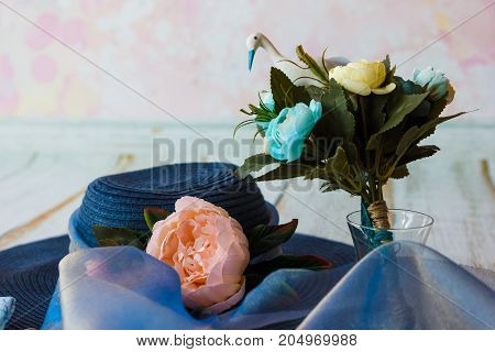 Accessories For Future Mom Awaiting For Baby Boy Blue Hat Bouquet With Toy Stork And Flowers In Blue