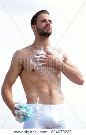 Unshaved Macho Wearing White Underwear. Male Body With Sexy Torso