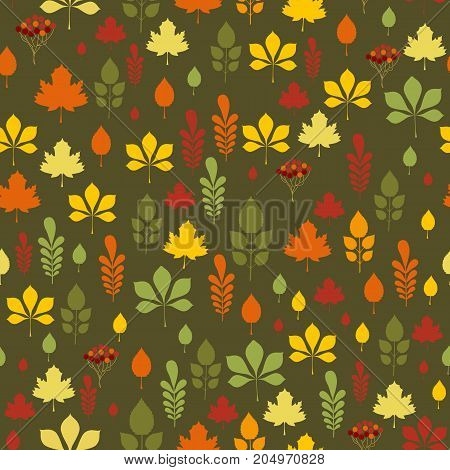 Seamless pattern with different autumn leaves in orange green brown and yellow. Perfect for gift paper pattern fills web page background autumn greeting cards.