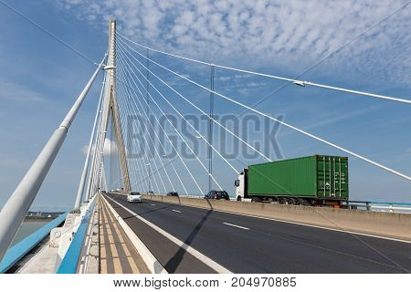 LE HAVRE FRANCE - AUGUST 24, 2017: Traffic at Pont de Normandie French bridge over river Seine near Le Havre and Honfleur