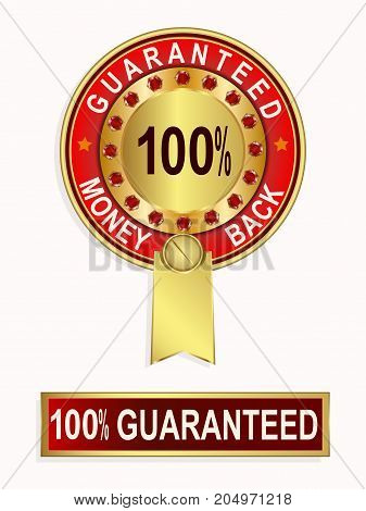 Round emblem of red color with a gold ribbon with a text of a money back guarantee