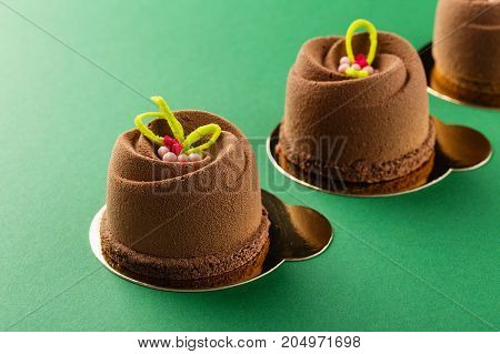 Mini Mousse Pastry Dessert Covered With Chocolate Velour