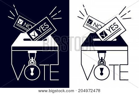 Silhouette Voting Icons In Linear Style