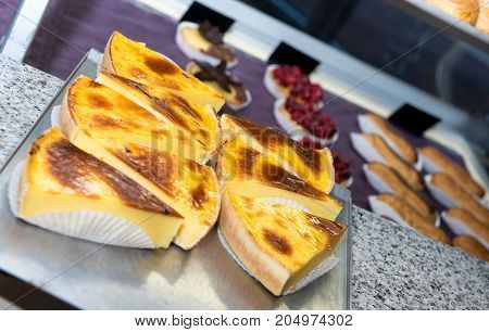 flan french viennoiserie in the pastry shop