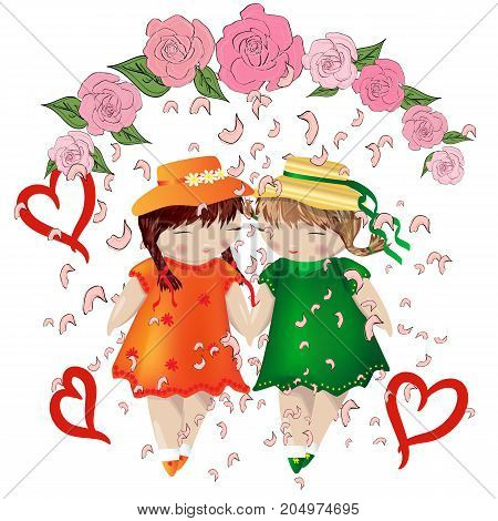 Lesbian Couple. Two Girls Holding Hands In A Frame Of Roses, Falling Petals. Wedding. Love Of Two Wo