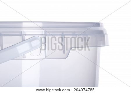 Transparent plastic bucket with transparent lid plastic containers on white background food plastic box isolated on white product packaging for foodstuff or paints adhesives sealants primers