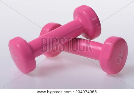 Healthy Lifestyle And Sports Concept. Barbells In Small Size