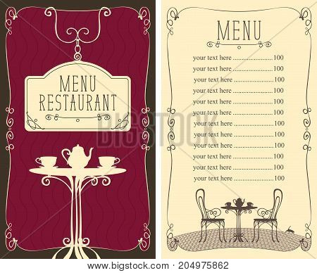 Vector menu for restaurant or cafe with a price list and image of a table with a kettle and cups in the curlicue frame in style art Deco.