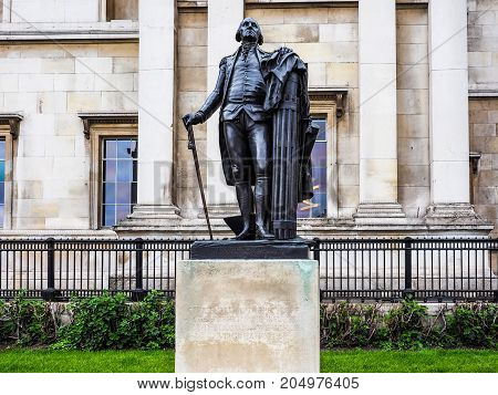 Washington Statue In London, Hdr