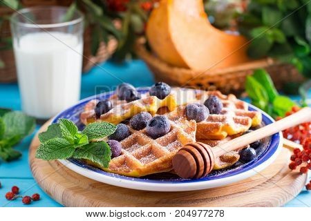Pumpkin wafers with berries for breakfast on a wooden table