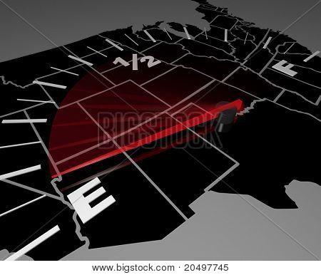 Die USA-Karte als Hintergrund für eine Kraftstoffanzeige, Nadel auf E, als Symbol für die declin