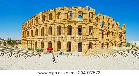 Panorama Of El Jem Amphitheater In El Djem