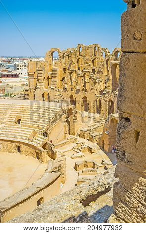 The Arched Walls Of El Jem Amphitheater In El Djem
