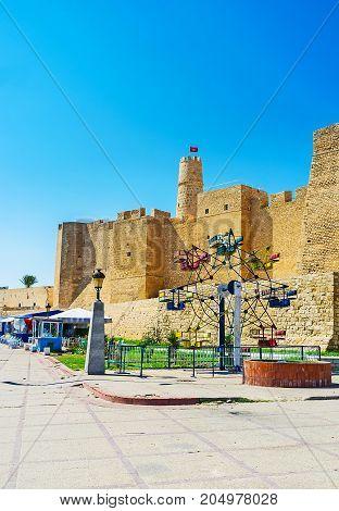 The Small Ferris Wheel At Ribat Walls, Monastir