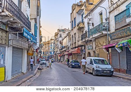 The Evening In Shopping Street Of Tunis