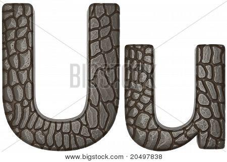 Alligator Skin Font U Lowercase And Capital Letters