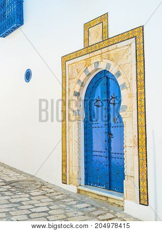 Arabic Door Of Sidi Bou Said Mansion