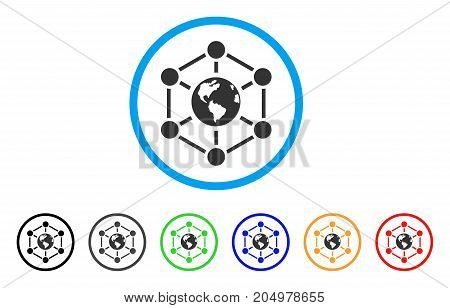 Worldwide Internet rounded icon. Style is a flat Worldwide internet grey symbol inside light blue circle with black, gray, green, blue, red, orange versions.