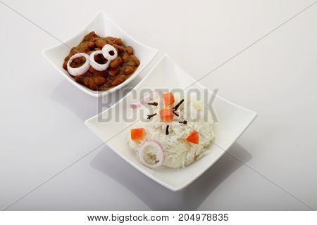 Indian Food - Beans and Rice on White Background