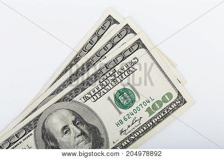 Macro Shot Of A 100 Dollar. Dollars Closeup Concept. American Dollars Cash Money. One Hundred Dollar