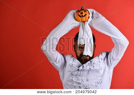 Halloween, Culture And Tradition Concept. Man With Smiling Face