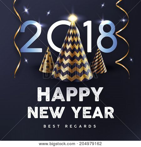 2018 Happy New Year with gold abstract Christmas tree and streamers vector poster. Christmas night background