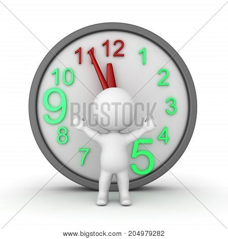 3D Character with a large clock behind him. Isolated on white.