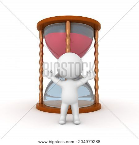 3D Character standing with his arms raised in front a hourglass. Isolated on white.