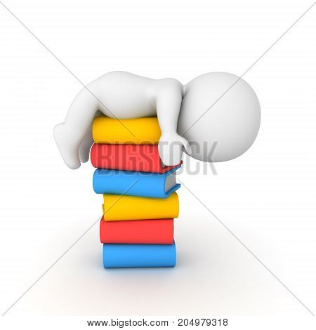 3D Character Sleeping On Top Of A Stack Of Books