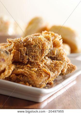 fried chicken meal closeup