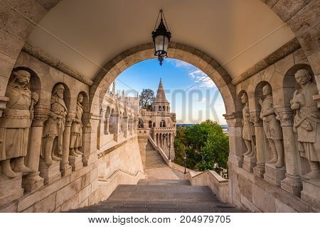 Budapest Hungary - The guardians of the famous Fisherman Bastion on the Buda Hill in the morning
