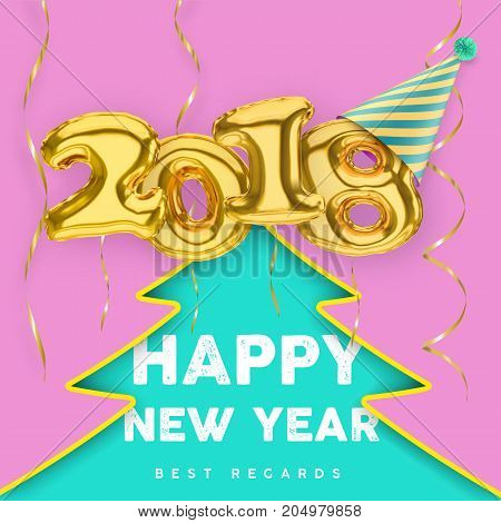 2018 3D Happy New Year with gold balloon numbers with Party hat streamers and Christmas tree silhouette background. Christmas poster vector template.