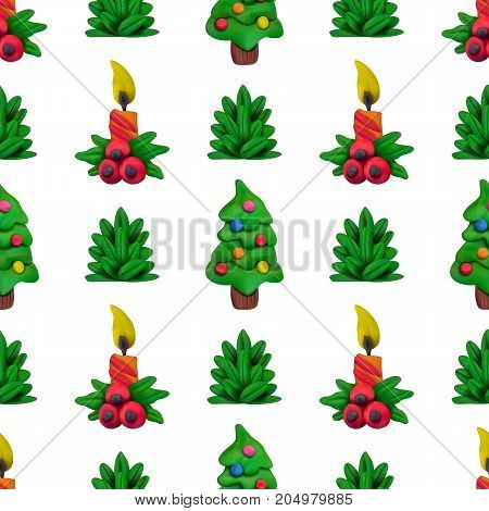 Handmade vector Plasticine seamless pattern for Christmas and Happy New year isolated on white background. Can be used for printing on textile pattern fills textures or gift wrap