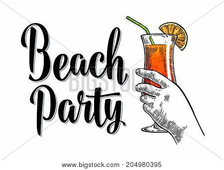 Alcohol cocktail sex on the beach with slice lemon and straw. Vintage vector engraving illustration with lettering. Isolated on white background. For poster menu invitation to summer party.