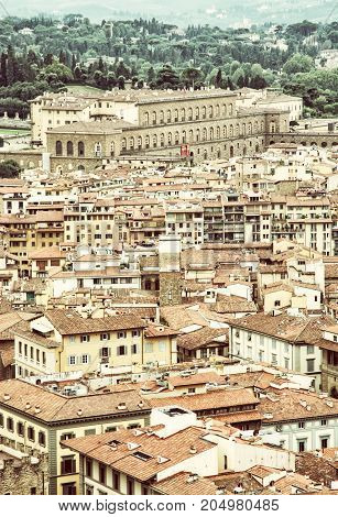 The Pitti palace in Florence Tuscany Italy. Architectural theme. Vintage photo filter.