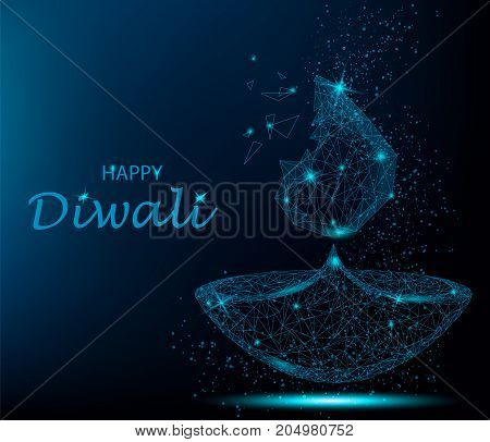 Happy diwali vector illustration. Deepavali light and fire festival. Polygonal art on blue background