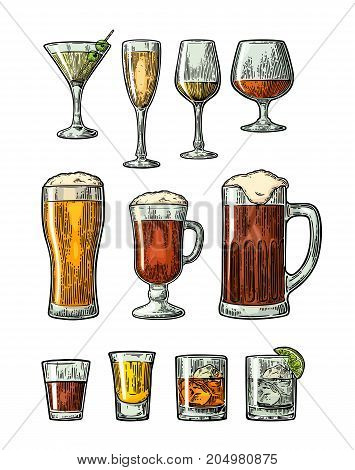 Set glass beer whiskey wine gin rum tequila cognac champagne cocktail. Vector engraved color vintage illustration isolated on white background