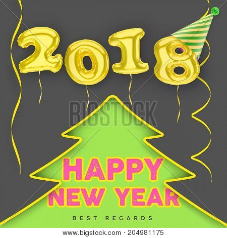2018 3D Happy New Year poster gold balloon numbers with Party hat streamers and Christmas tree silhouette.