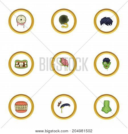 Dead icons set. Cartoon style set of 9 dead vector icons for web design