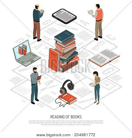 Book reading isometric flowchart with stack of paper books headphones notebook electronic book reading people icons vector illustration