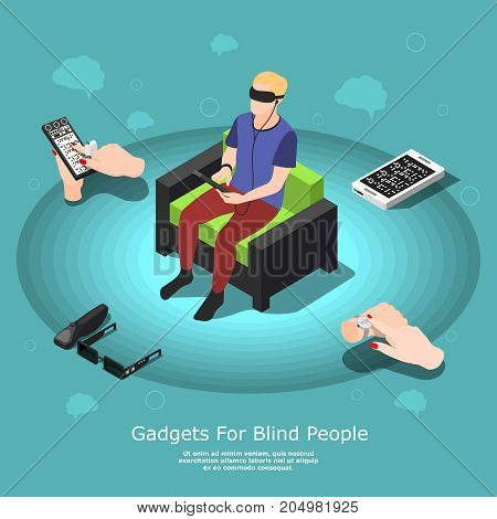 Isometric blind people conceptual background with partially sighted male character and various accessibility gadgets with text vector illustration